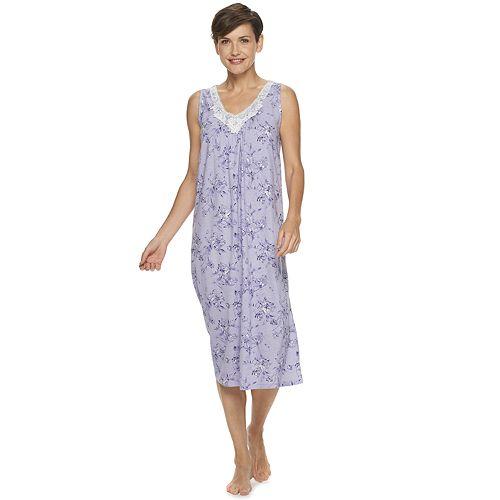 Women's Croft & Barrow® Short Sleeve Lace V Neck Gown