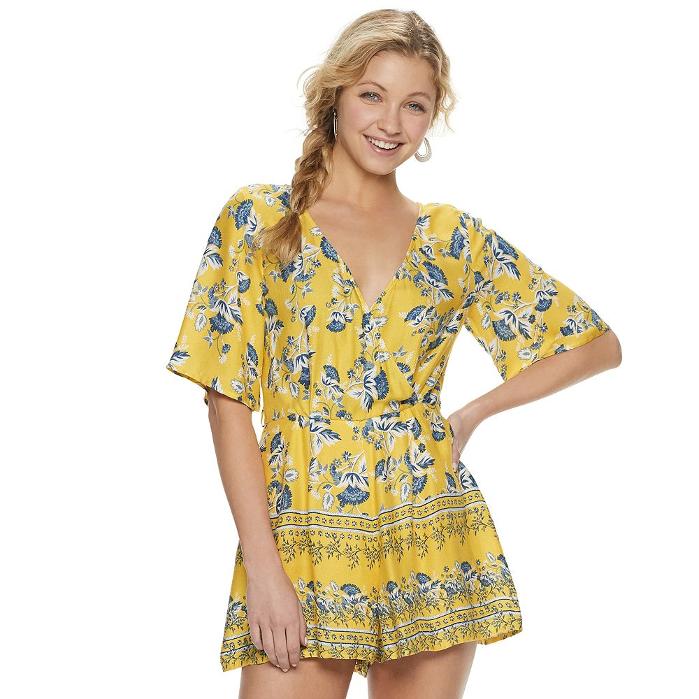 Juniors' Trixxi Surplice Romper