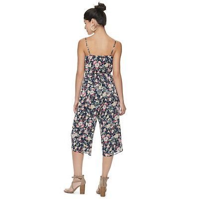 Juniors' Trixxi Floral Smocked-Waist Jumpsuit