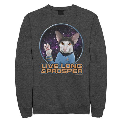Junior's Star Trek: TheOriginal Series Spock Cat Portrait Crew Fleece