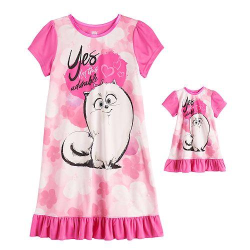 Girls 4-10 Secret Life of Pets Gidget Dorm Nightgown & Matching Doll Gown