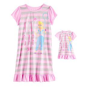Disney / Pixar Toy Story Bo Peep Girls 4-10 Dorm Nightgown & Matching Doll Gown