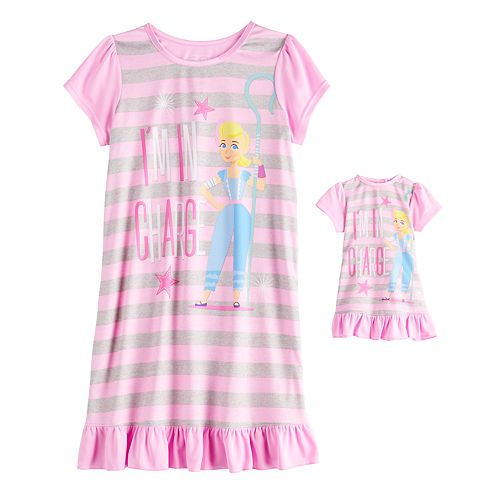 Disney / Pixar Toy Story Bo Peep Girls 4-10 Dorm Nightgown & Matching Doll Gown
