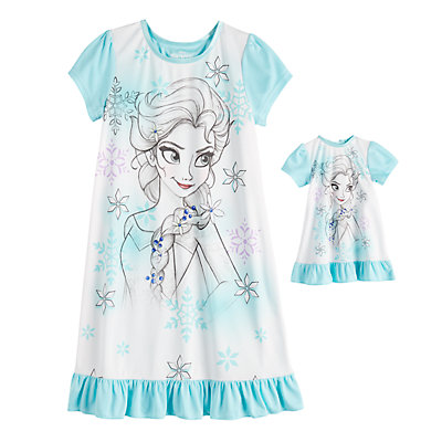 Disney's Frozen Elsa Girls 4-8 Nightgown & Doll Gown