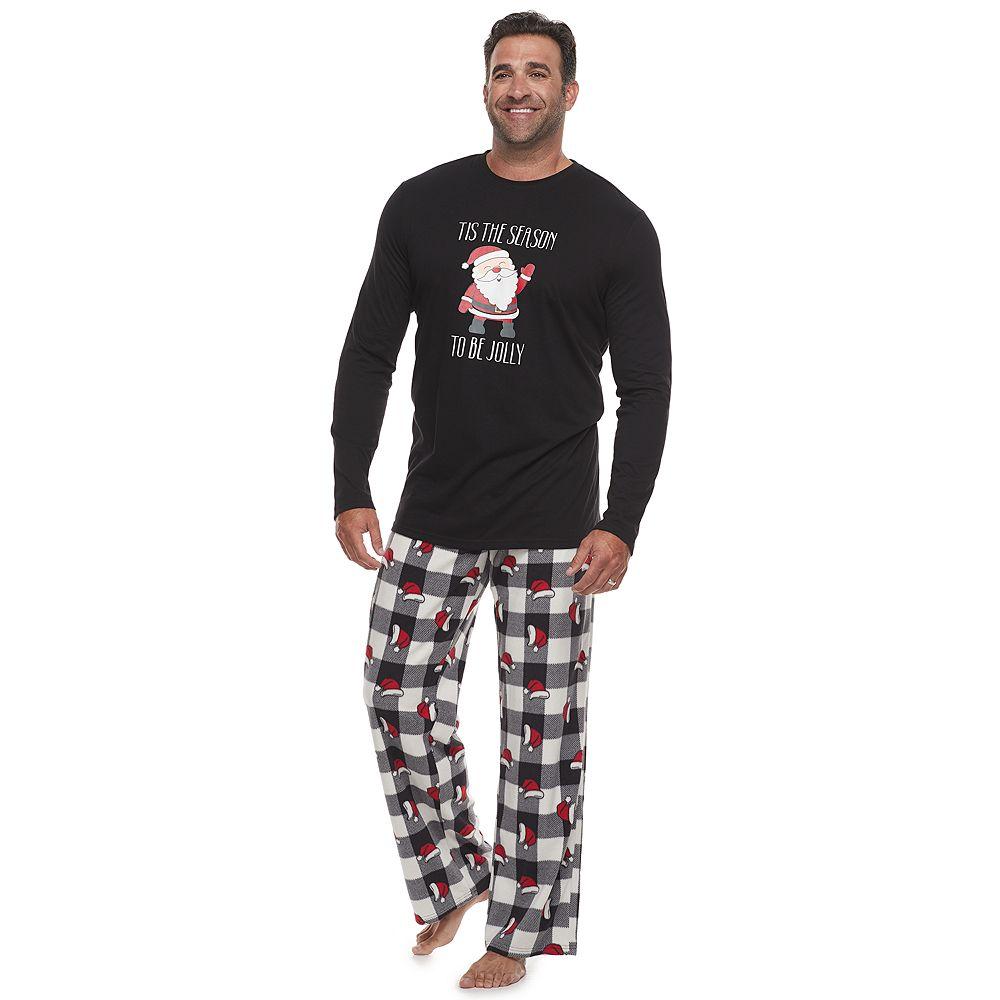 Big & Tall Jammies For Your Families Jolly Santa Family Tee & Pants Pajama Set
