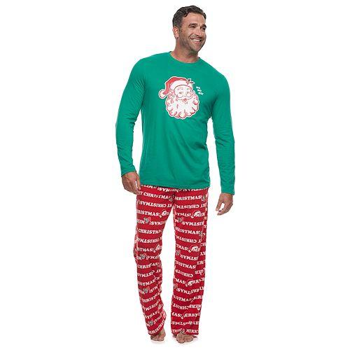 Big & Tall Jammies For Your Families Santa Ho Ho Ho Family Tee & Pants Pajama Set