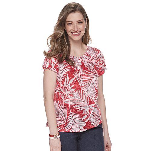 Women's Dana Buchman® Short Sleeve Smocked-Neck Tee