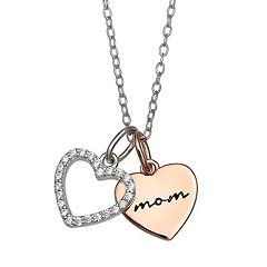 PRIMROSE 'Mom' Two-Tone Double Heart Cubic Zirconia Pendant Necklace