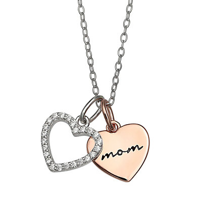 "PRIMROSE ""Mom"" Two-Tone Double Heart Cubic Zirconia Pendant Necklace"