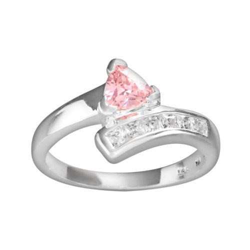 Sterling Silver Pink Cubic Zirconia Ring