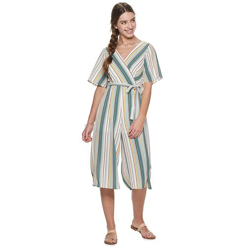 Juniors' Trixxi Surplice Jumpsuit