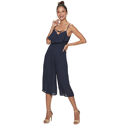 Juniors' Trixxi Cross Front Ruffle Jumpsuit