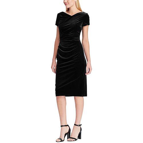 Women's Chaps Draped Velvet Sheath Dress