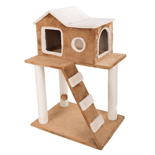 PetMaker 3-Tier Cat Tree with Ladder Condo & Toy