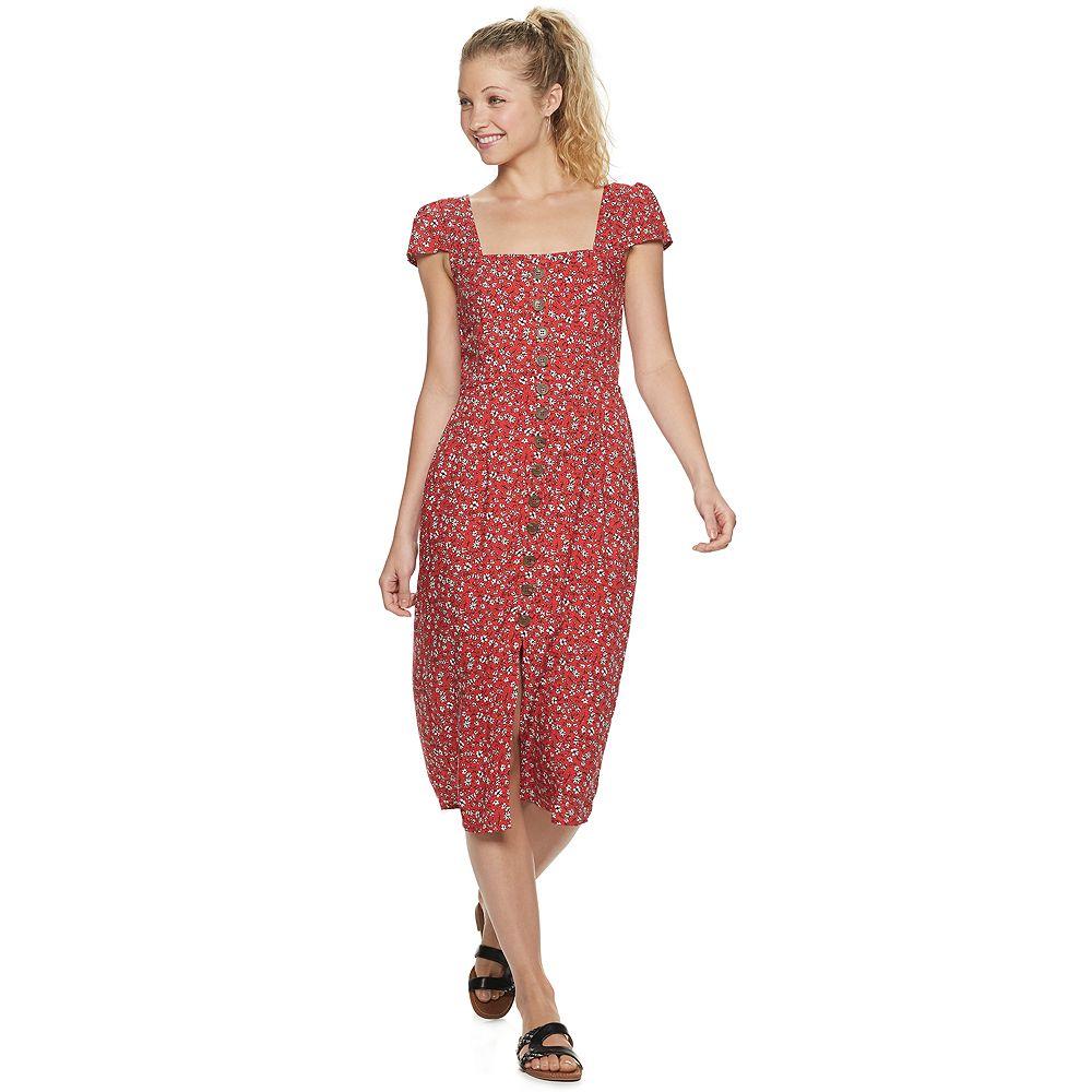 Juniors' Trixxi Button Midi Dress
