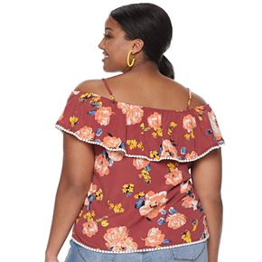 Juniors' Plus Miss Chievous Cold-Shoulder Flounce Top