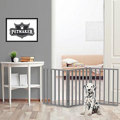 PetMaker Folding 3-Panel Wooden Pet Gate
