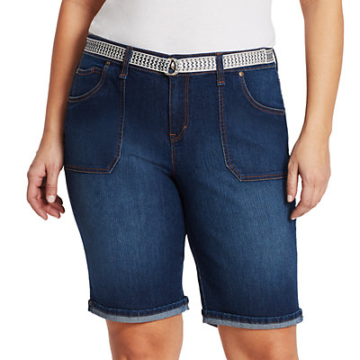 Womens Gloria Vanderbilt Plus Mia Belted Bermuda