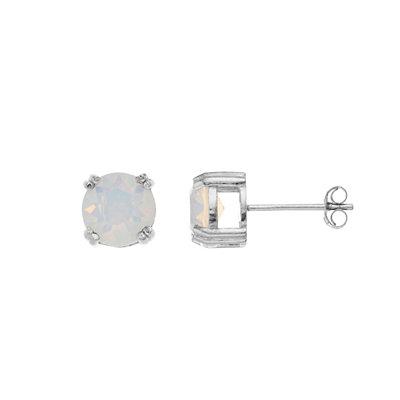 Aleure Sterling Silver Crystal Stud Earrings