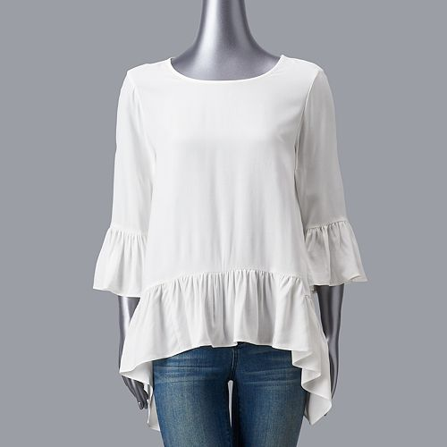 Women's Simply Vera Vera Wang Sharkbite Ruffle Top