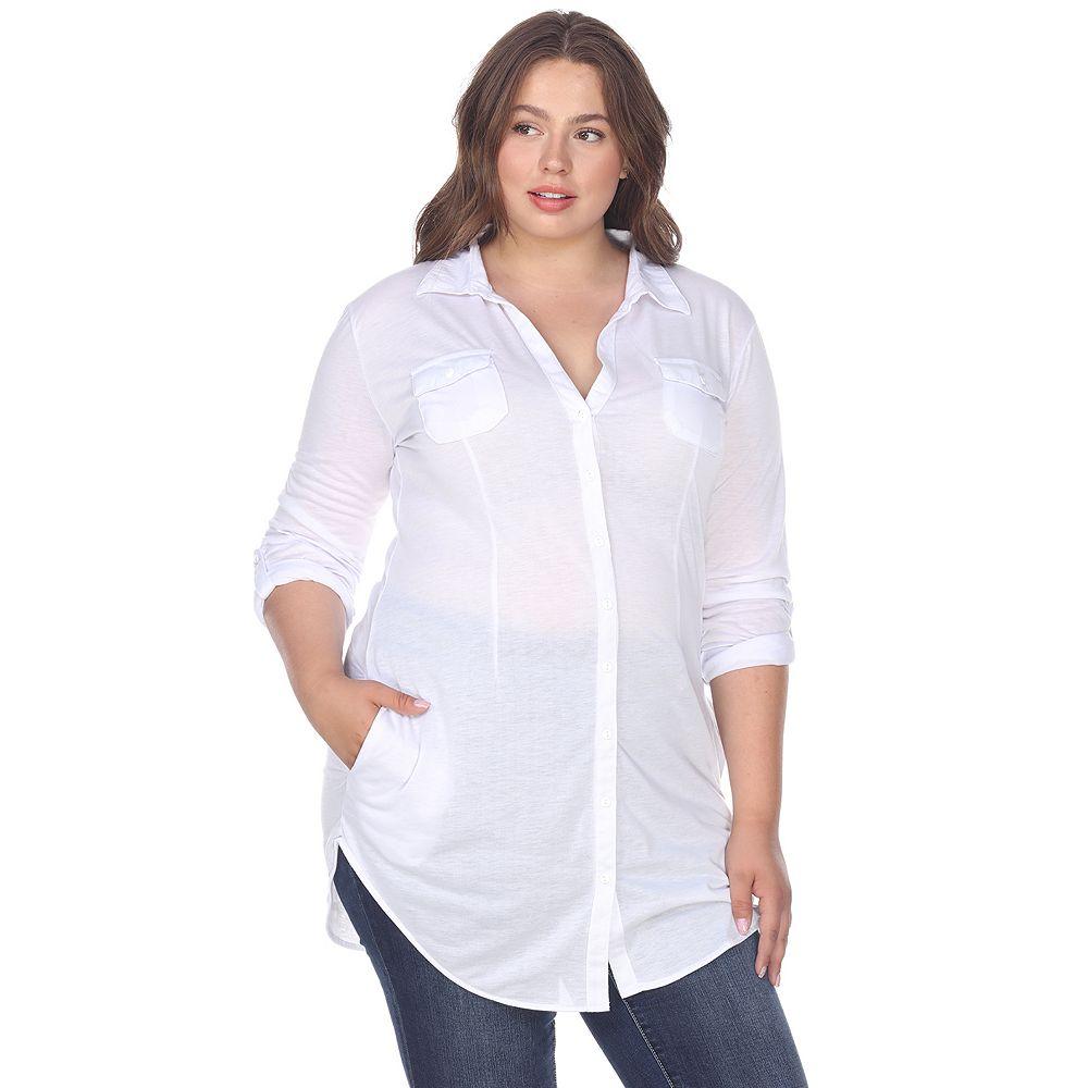 Plus Size White Mark Button-Down Tunic