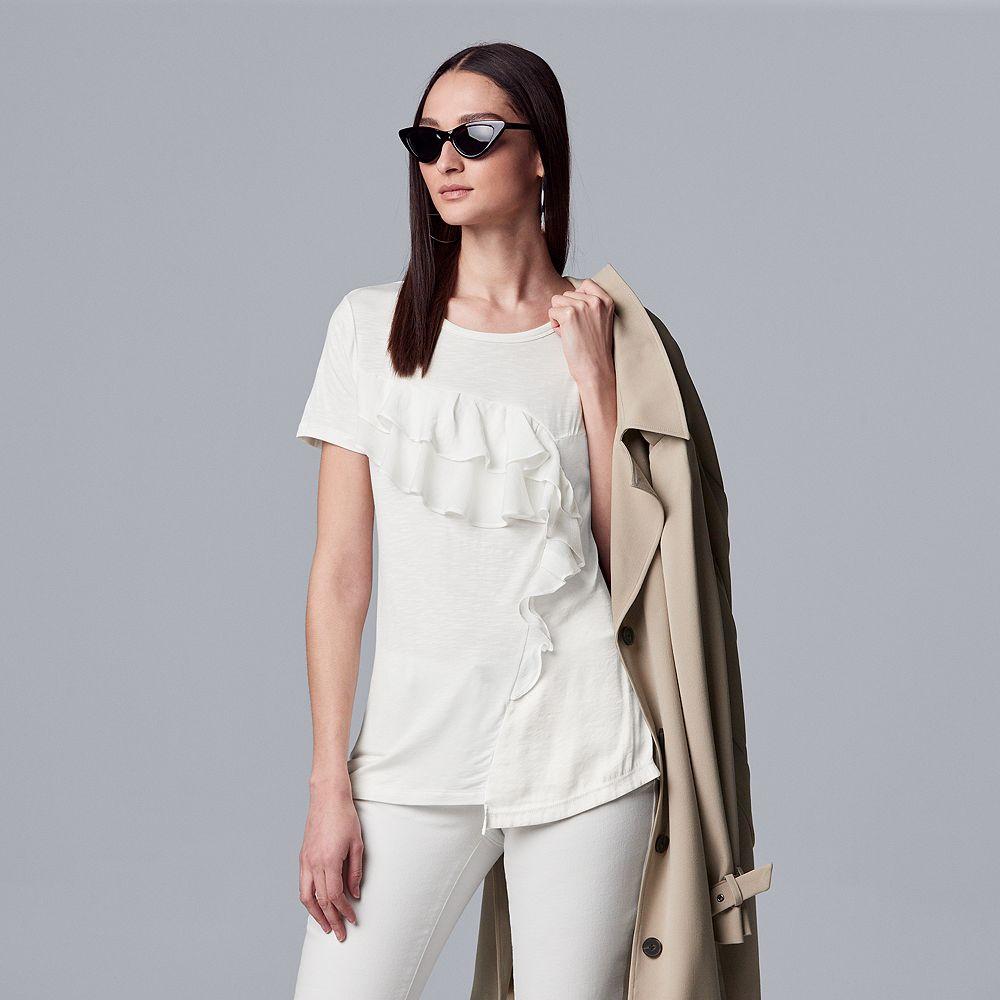 Women's Simply Vera Vera Wang Asymmetrical Ruffle Tee