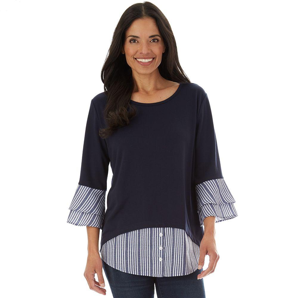 Women's Apt. 9® French Terry Ruffle Sleeve Top