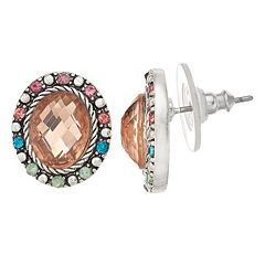 Napier Oval Button Stud Earrings