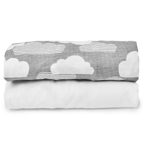 Skip Hop Expanding Travel Crib Clouds/White Fitted Sheet Set