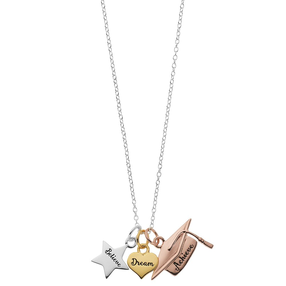 Love this life Tri Tone Believe Dream Achieve Mini Necklace