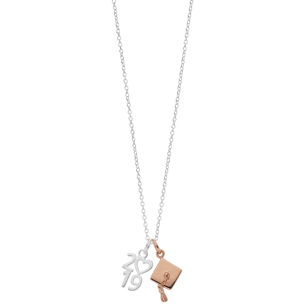 Love this life Two Tone 2019 and Grad Hat Mini Necklace
