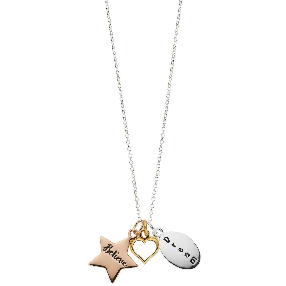 Love this life Tri Tone Dream Believe Star Heart Mini Necklace