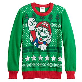 Boys 8-20 Nintendo Mario Christmas Wreath Sweater