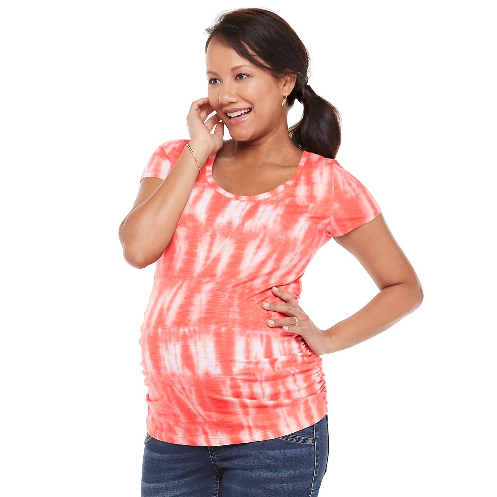 Maternity a:glow™ Shirred-Side Scoopneck Tee