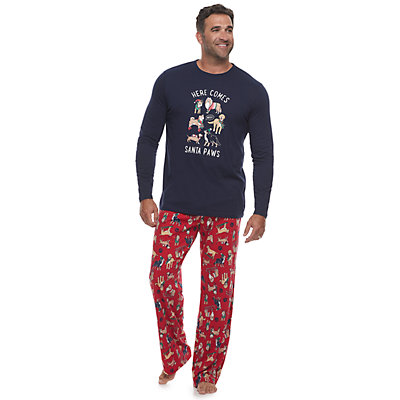 Men's Jammies For Your Families Here Comes Santa Paws Tee & Pants Pajama Set