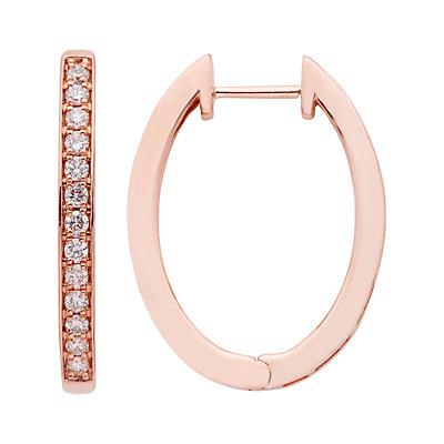 14k Gold 1/2 Carat T.W. Certified Diamond Oval Hoop Earrings