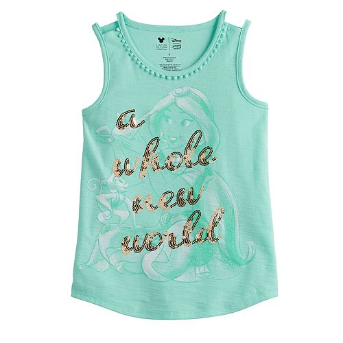 """Disney's Aladdin Girls 4-12 """"A Whole New World"""" Sequined Graphic Tank Top by Jumping Beans®"""