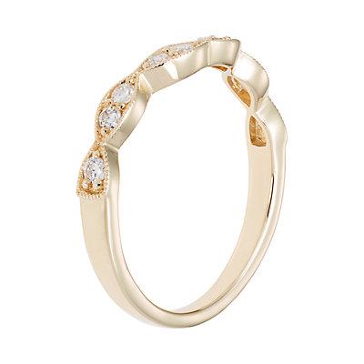 14k Gold 1/4 Carat T.W. IGL Certified Diamond Scalloped Shadow Wedding Band