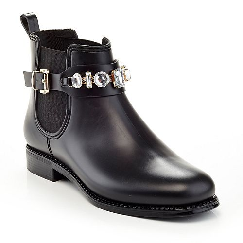 Henry Ferrera Marsala Women's Embellished Short Rain Boots