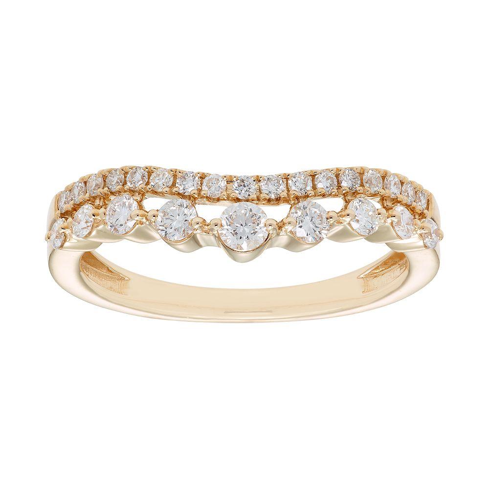 14k Gold 1/2 Carat IGL Certified Diamond Double Row Shadow Wedding Band