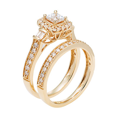 14k Gold 1 Carat T.W IGL Certified Diamond Engagement Ring Set
