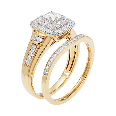 14k Gold 3/4 Carat T.W. IGL Certified Diamond Tiered Engagement Ring Set