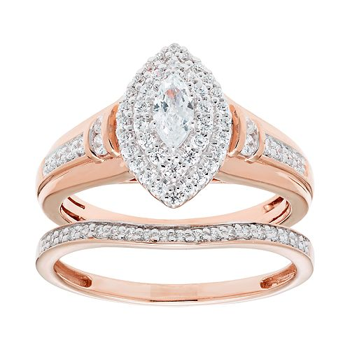 14k Gold 3/4 Carat T.W. IGL Certified Diamond Marquise Engagement Ring Set