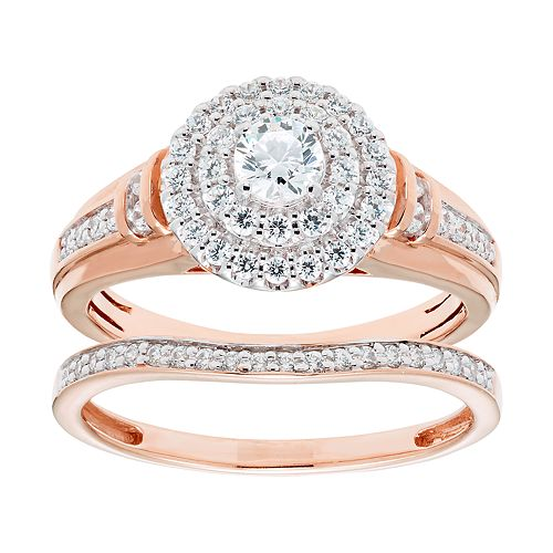 14k Gold 3/4 Carat T.W. IGL Certified Diamond Engagement Ring Set