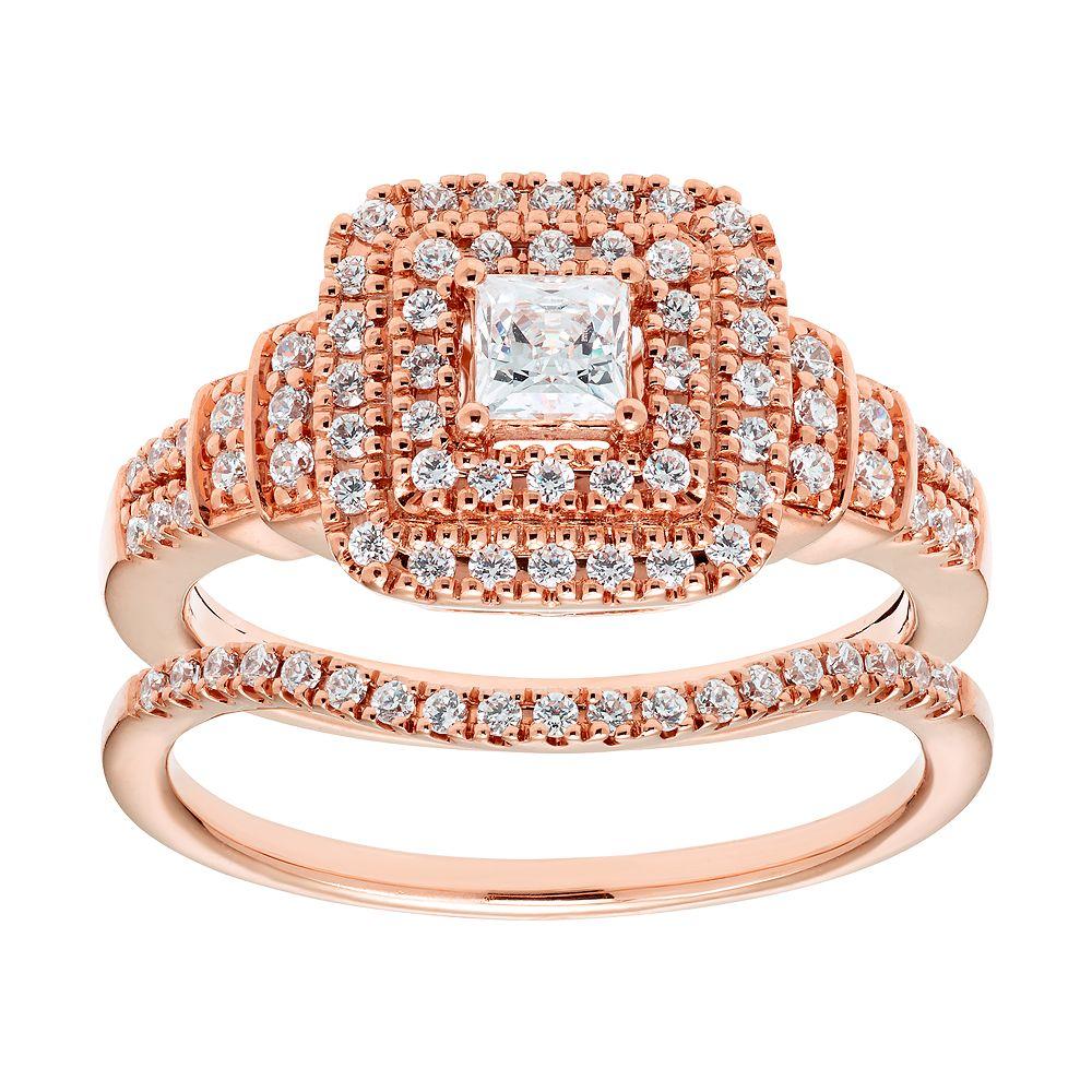14k Gold 3/4 Carat T.W. IGL Certified Diamond Tiered Engagement Ring Set