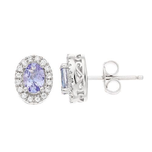 Women's 6mmX4mm Oval Genuine Tanzanite With White Topaz Halo in Sterling Silver Earrings