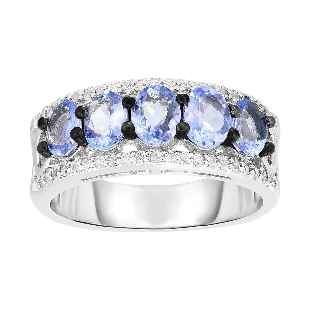 Sterling Silver Tanzanite & White Topaz Ring