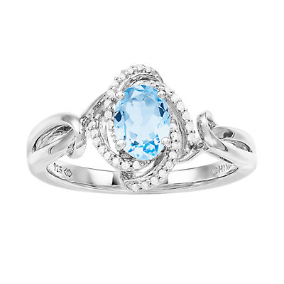 Women's 7mm X 5mm Oval Genuine Aquamarine Ring with 1/10 CTW White Diamond Sterling Silver Ring