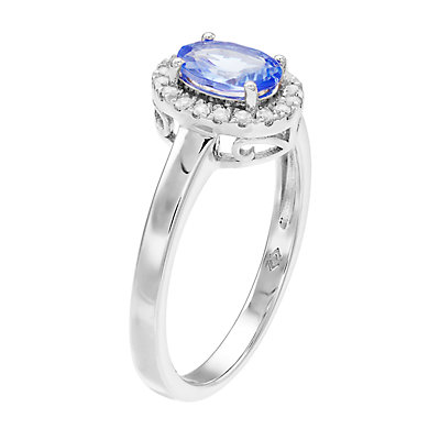 Women's 7mm X 5mm Oval Genuine Tanzanite with Topaz Halo Ring in Sterling Silver Ring
