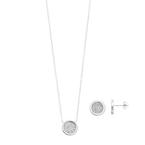 Women's 1/2CTW White Diamond Cirlce Earrings and Pendant Set in Sterling Silver
